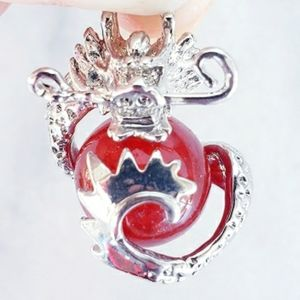 Jewelry - #856 New Chinese Silver Jade Dragon Pendant Red